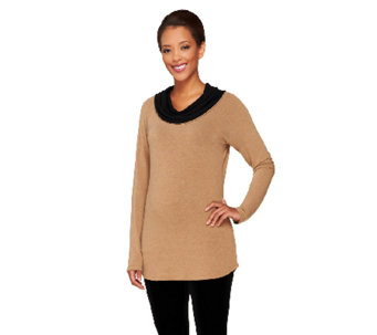 Legacy Sweater Jersey Knit Cowl Neck Long Sleeve Tunic - A259359