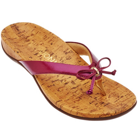 Vionic Orthotic Thong Sandals w/ Bow Detail - Cassie