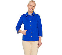 Quacker Factory DreamJeannes Smile N' Style Scalloped Eyelet Jacket - A263559