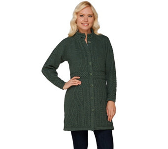 Aran Craft Merino Wool Long Cardigan with Belt Stitching - A263759