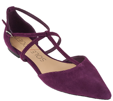 Sole Society Suede Pointed Toe T-strap Flats - Chandler