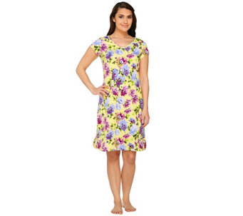 Isaac Mizrahi Live! Floral Print Sleep Dress - A263959