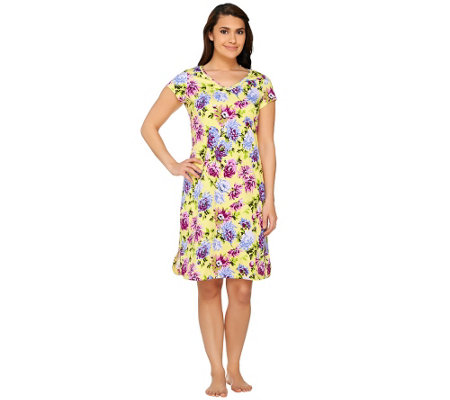 Isaac Mizrahi Live! Floral Print Sleep Dress