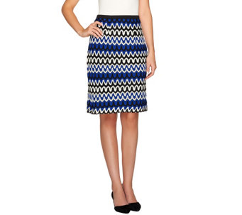 Linea by Louis Dell'Olio Knit Zigzag Pattern Pencil Skirt - A265559