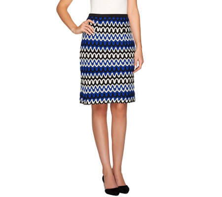 Linea by Louis Dell'Olio Knit Zigzag Pattern Pencil Skirt