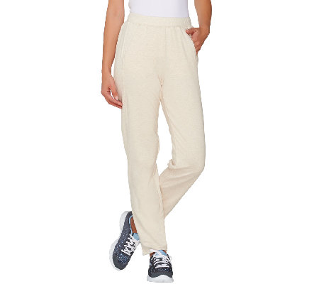 Denim & Co. Active Petite French Terry Pants with Seam Detail