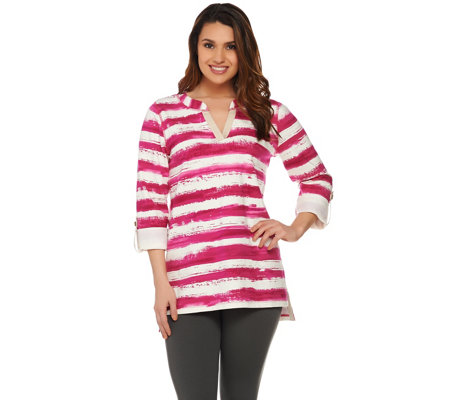 Susan Graver Weekend Striped French Terry Split Neck Top