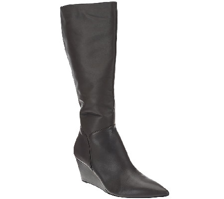 H by Halston Leather Tall Shaft Wedge Boots - Rachel
