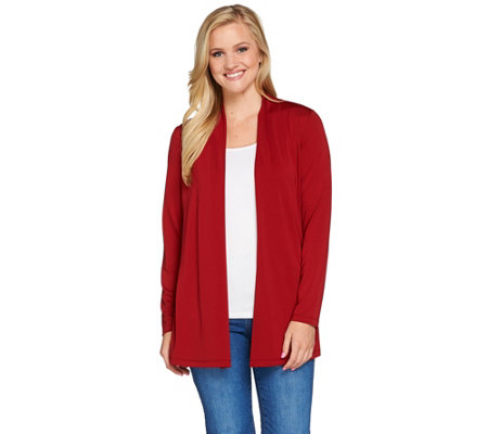 Susan Graver Premier Knit Open Front Cardigan with Button Detail
