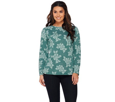 Denim & Co. Floral Jacquard Round Neck Long Sleeve Top
