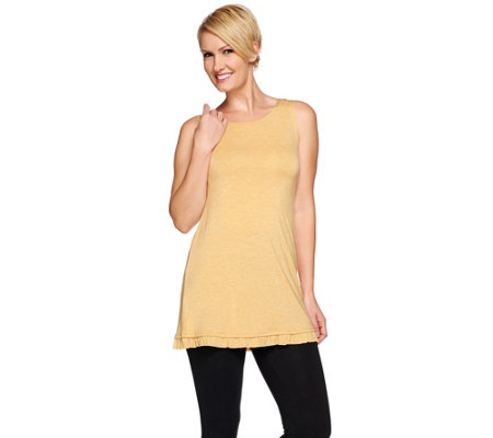 LOGO Layers by Lori Goldstein Heather Knit Tank with Ruffle Trim