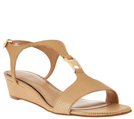 Judith Ripka Leather T-Strap Wedge Sandals - Roseanne