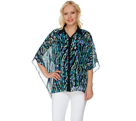 Bob Mackie's Animal Printed Button Front Caftan Top and Tank Set