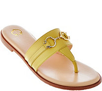 C. Wonder Leather Thong Sandals with Hardware Detail - Annabelle - A276759