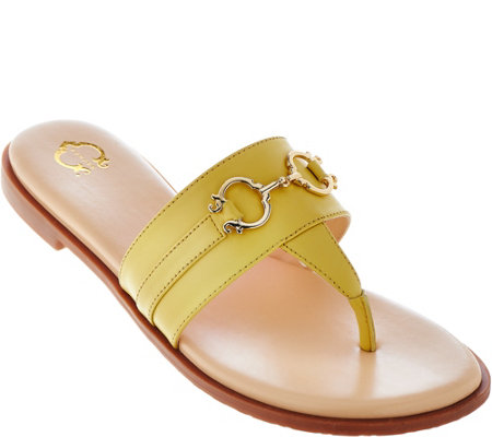 C. Wonder Leather Thong Sandals with Hardware Detail - Annabelle
