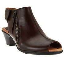 Earth Leather Peep-toe Booties - Kristy - A277059