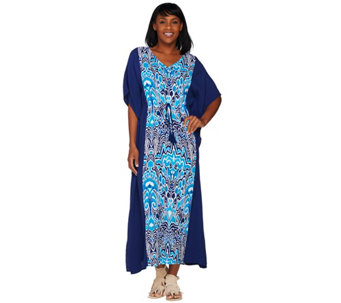 C. Wonder Regular V-Neck Color Block Printed Caftan - A278459