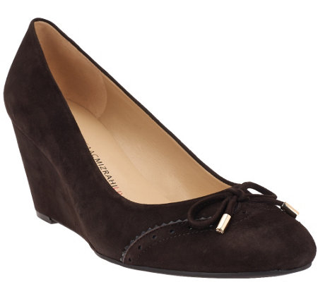 """As Is"" Isaac Mizrahi Live! Suede Round Toe Wedges w/ Bow Detail"