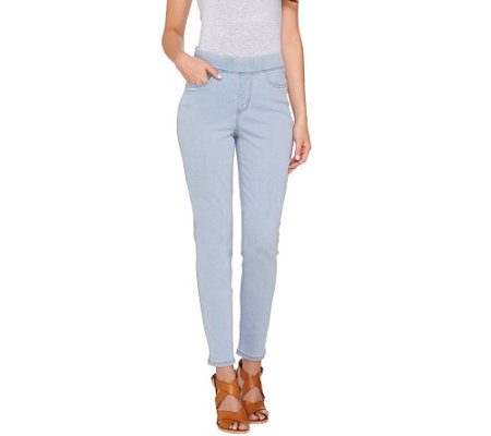 """As Is"" Denim & Co. Soft Stretch Slim Straight Leg Pull-On Pants"