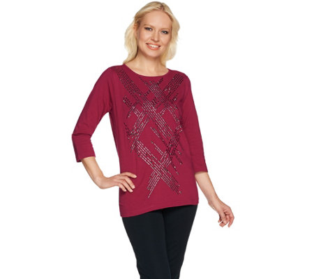 Bob Mackie's 3/4 Sleeve Studded Front Knit Top