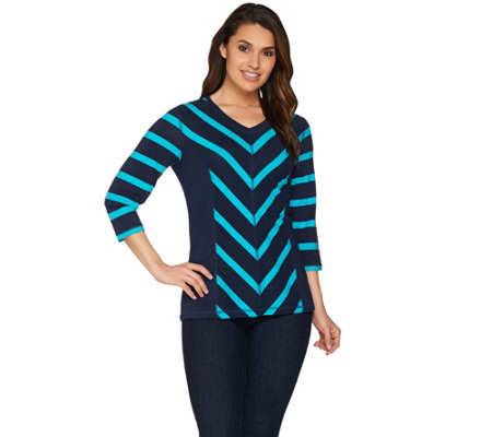 Denim & Co. Striped 3/4 Sleeve V-neck Top with Hi-low Hem