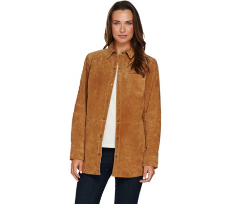 Denim & Co. Snap Front Suede Shirt Jacket w/ Seaming Details