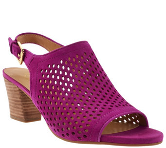 """As Is"" Franco Sarto Suede Perforated Sandals - Monaco 2 - A284459"