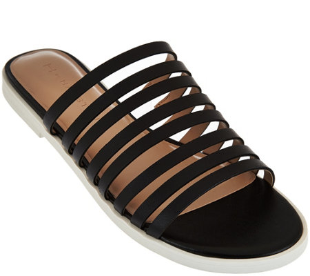 """As Is"" H by Halston Strappy Leather Flat Slide - Cora"