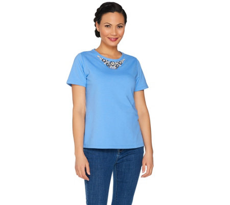 Susan Graver Artisan Embellished French Terry Top