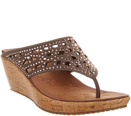 Skechers Wedge Thong Sandals w/ Rhinestones - Dazzled