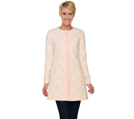 """As Is"" Isaac Mizrahi Live! Bonded Lace Button Front Coat"