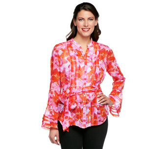 """As Is"" Status by Star Jones Floral Print Pleated Blouse - A290959"