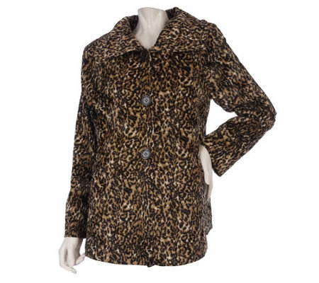 """As Is"" Dennis Basso Animal Printed Faux Fur Coat with Spread Collar"