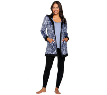 """As Is"" Carole Hochman Micro Fleece Winter Print 3-Piece Pajama Set - A293059"