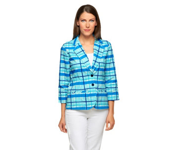 """As Is"" Liz Claiborne New York 3/4 Sleeve Plaid Print Blazer - A294359"
