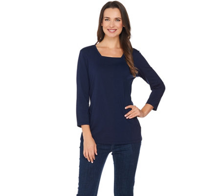 """As Is"" Susan Graver Modern Essentials Cotton Modal Square Neck Top"