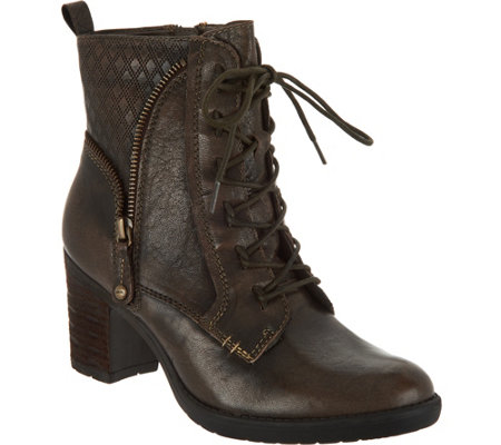 Earth Leather Block Heel Lace-up Ankle Boots - Missoula