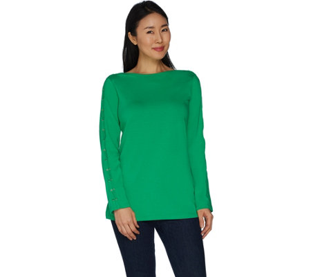 Belle by Kim Gravel Lace Up Long Sleeve T-Shirt