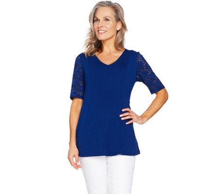 """As Is"" Denim & Co Fit & Flare Stretch Lace Elbow Sleeve Top"