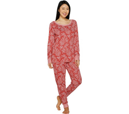 """As Is"" Carole Hochman Petite Floral Paisley Interlock Lounge Set"