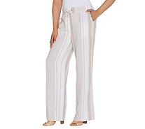 Denim & Co. Linen Blend Pull-on Full Length Striped Pants - A307959