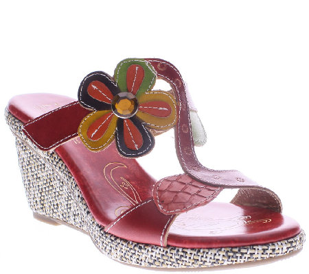 L'Artiste by Spring Step Leather Wedge Sandals- Riviera
