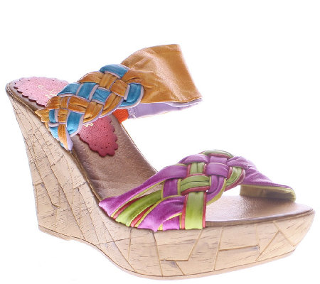 Azura by Spring Step Braided Leather Wedges - Mania