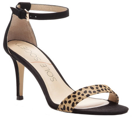 Sole Society Leather Sandals - Dace Leopard