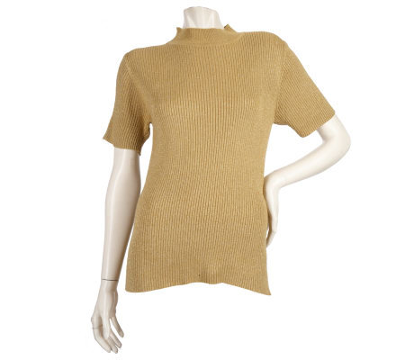 Susan Graver Metallic Short Sleeve Mockneck Sweater
