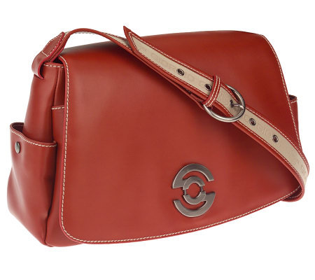 Giorgio G Leather Flap Satchel with Single Adjust. Handle