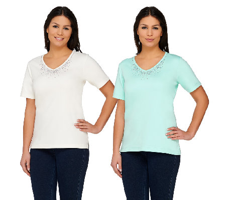 Quacker Factory Set of 2 Multicolor Sparkle & Shine Knit Tops
