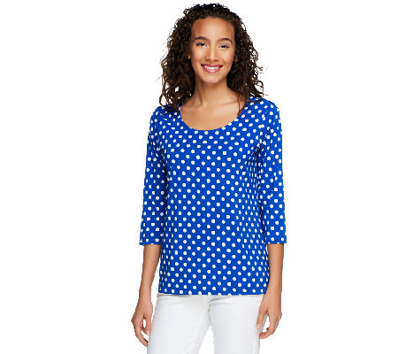 Susan Graver Liquid Knit U-Neck Top with Dot Print and 3/4 Sleeves