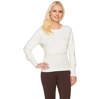 Linea by Louis Dell'Olio Whisper Knit Sweater w/ Rib Detail
