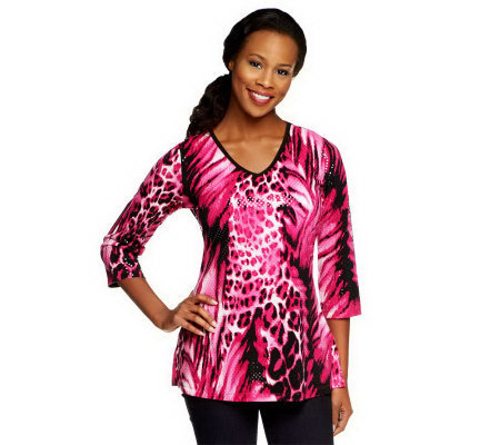 Susan Graver Liquid Knit Animal Print V-neck Tunic with Sparkles